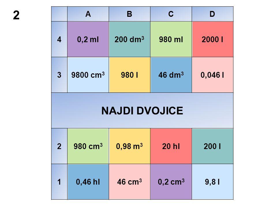 2 NAJDI DVOJICE A B C D 4 0,2 ml 200 dm3 980 ml 2000 l 3 9800 cm3