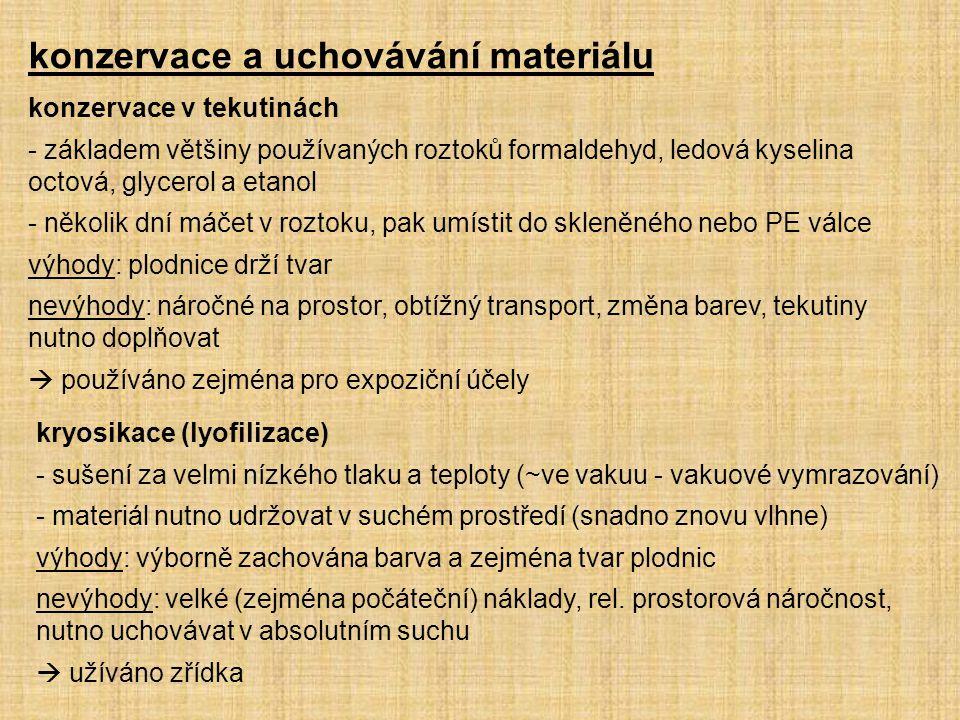 konzervace a uchovávání materiálu