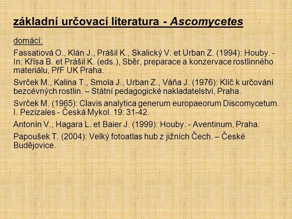 základní určovací literatura - Ascomycetes