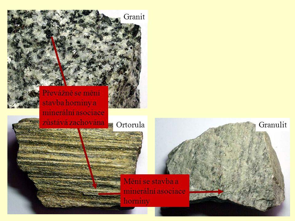 Granit Převážně se mění stavba horniny a minerální asociace zůstává zachována. Ortorula. Granulit.