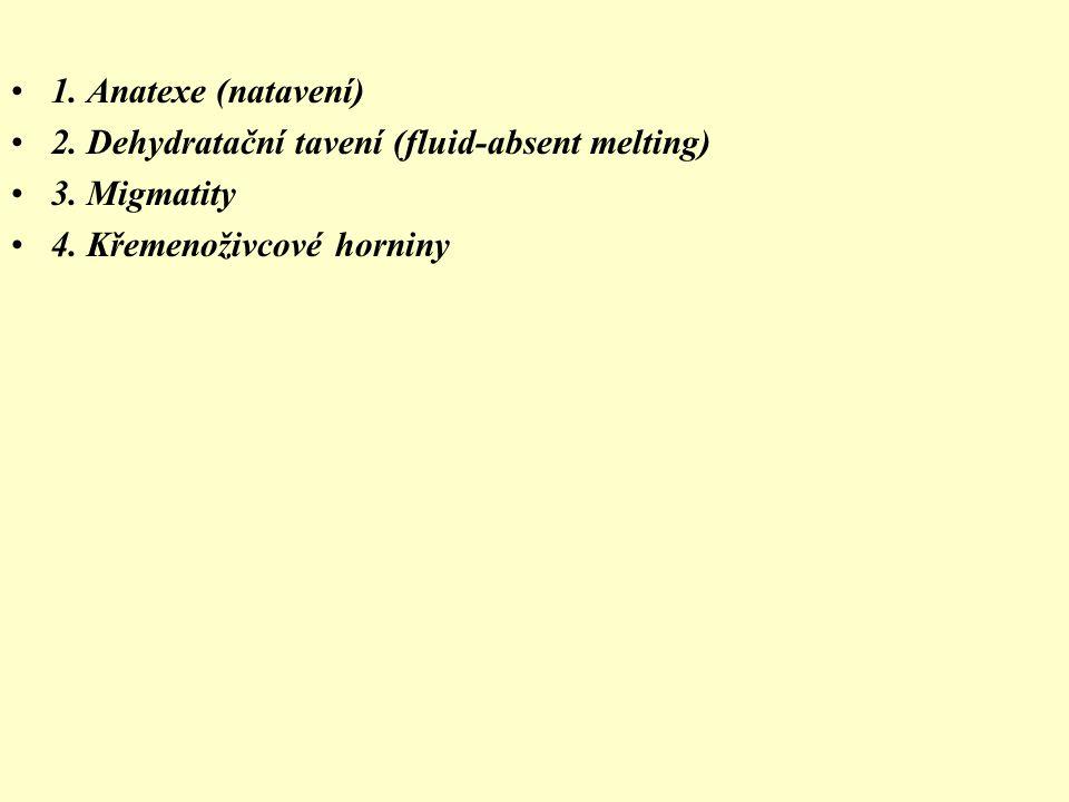 1. Anatexe (natavení) 2. Dehydratační tavení (fluid-absent melting) 3.