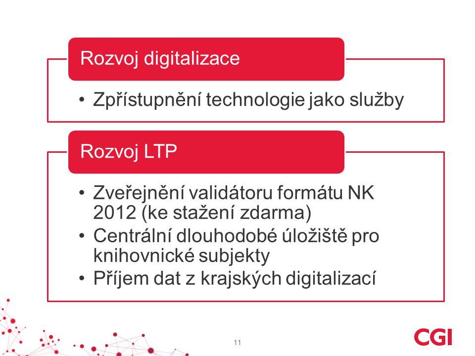 Rozvoj digitalizace Zpřístupnění technologie jako služby. Rozvoj LTP. Zveřejnění validátoru formátu NK 2012 (ke stažení zdarma)