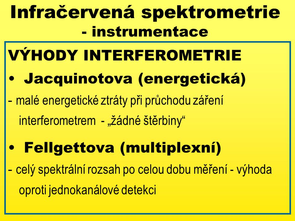 Infračervená spektrometrie - instrumentace