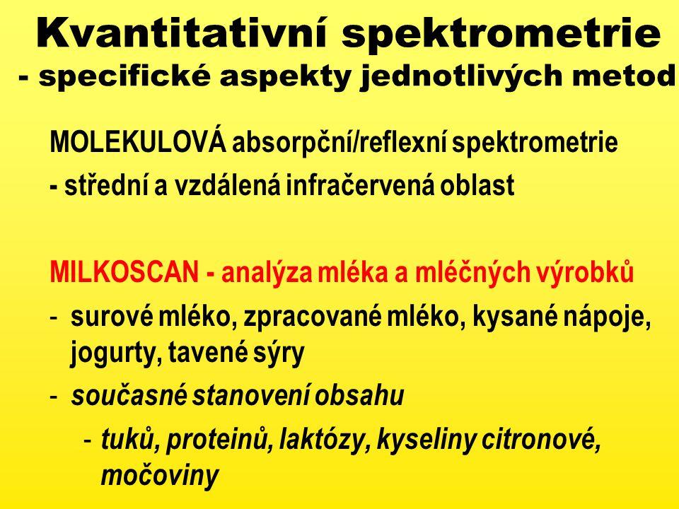 Kvantitativní spektrometrie - specifické aspekty jednotlivých metod