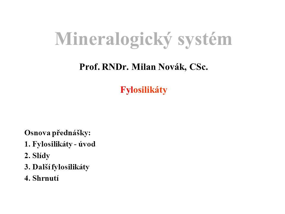 Mineralogický systém Prof. RNDr. Milan Novák, CSc. Fylosilikáty
