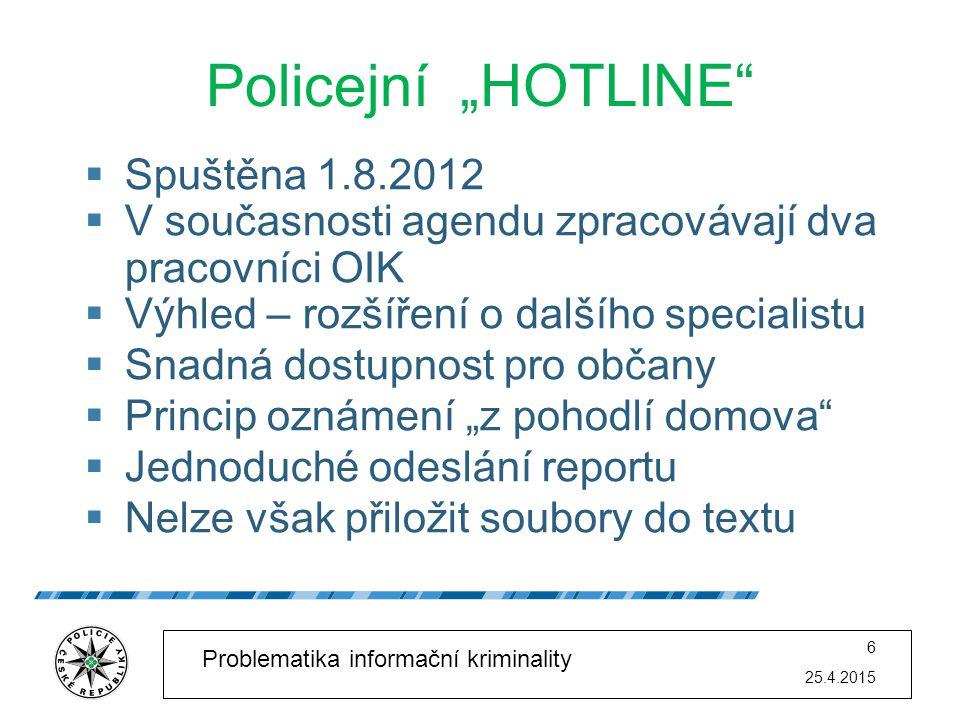 """Policejní """"HOTLINE Spuštěna 1.8.2012"""