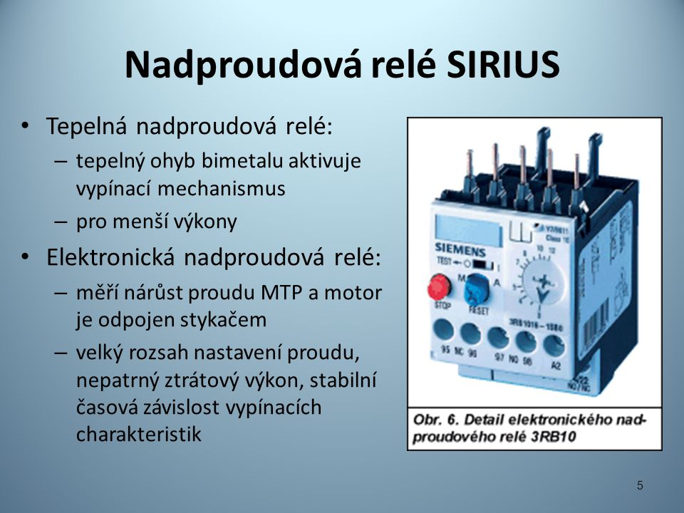 Nadproudová relé SIRIUS