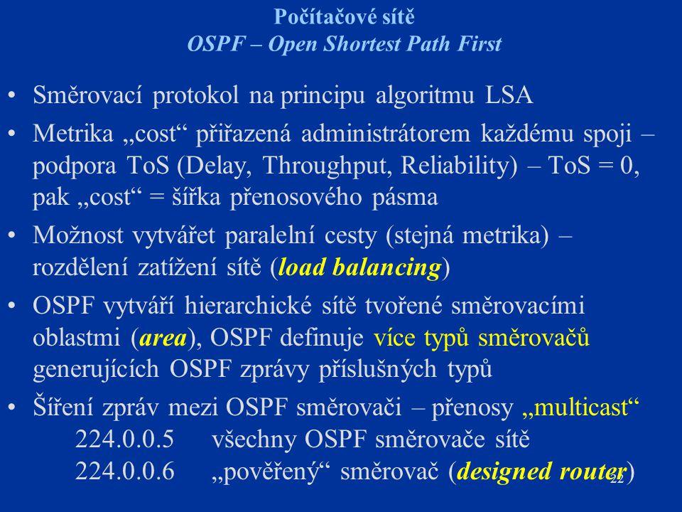 Počítačové sítě OSPF – Open Shortest Path First