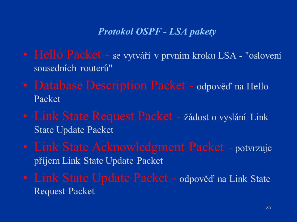 Protokol OSPF - LSA pakety