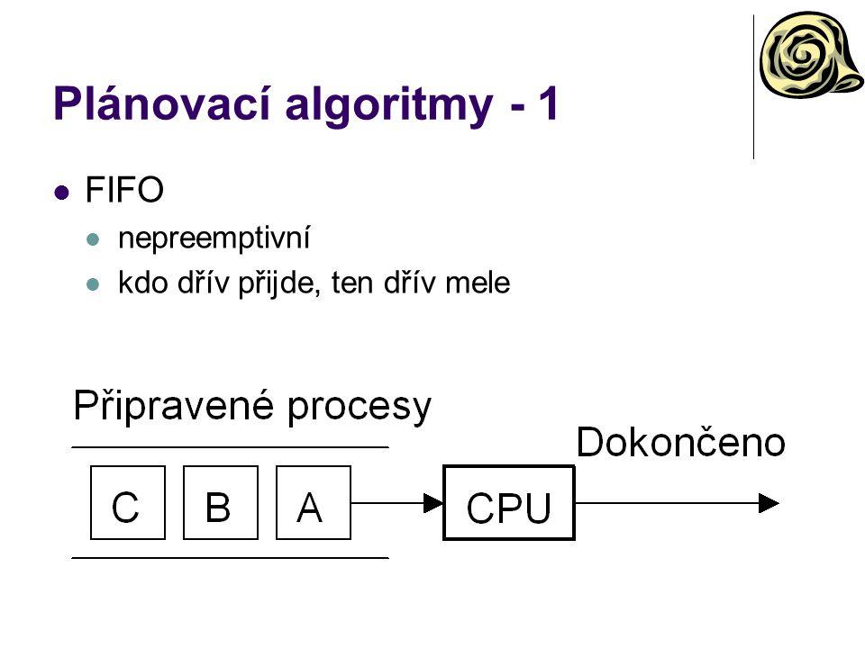 Plánovací algoritmy - 1 FIFO nepreemptivní