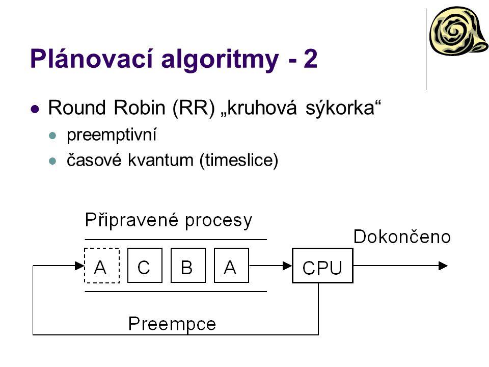 """Plánovací algoritmy - 2 Round Robin (RR) """"kruhová sýkorka preemptivní"""