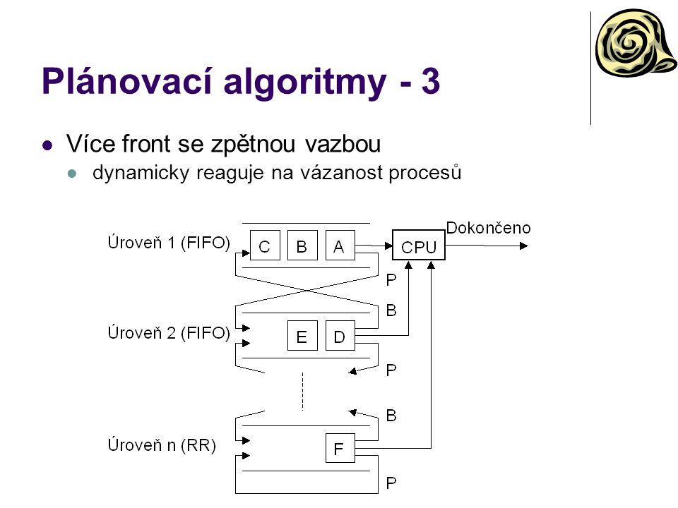 Plánovací algoritmy - 3 Více front se zpětnou vazbou