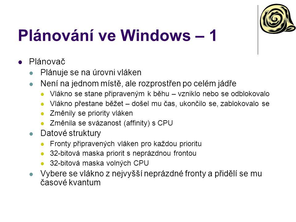 Plánování ve Windows – 1 Plánovač Plánuje se na úrovni vláken