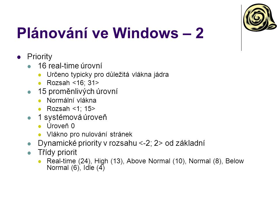 Plánování ve Windows – 2 Priority 16 real-time úrovní