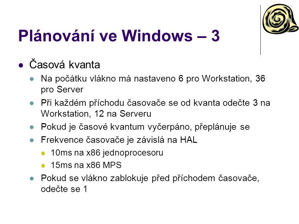 Plánování ve Windows – 3 Časová kvanta