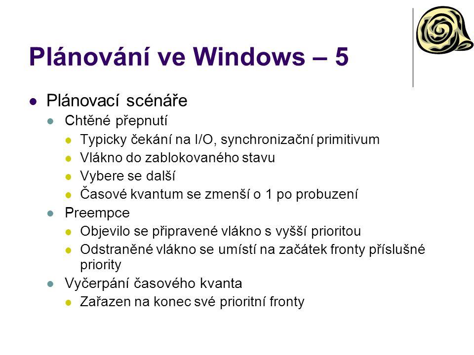 Plánování ve Windows – 5 Plánovací scénáře Chtěné přepnutí Preempce