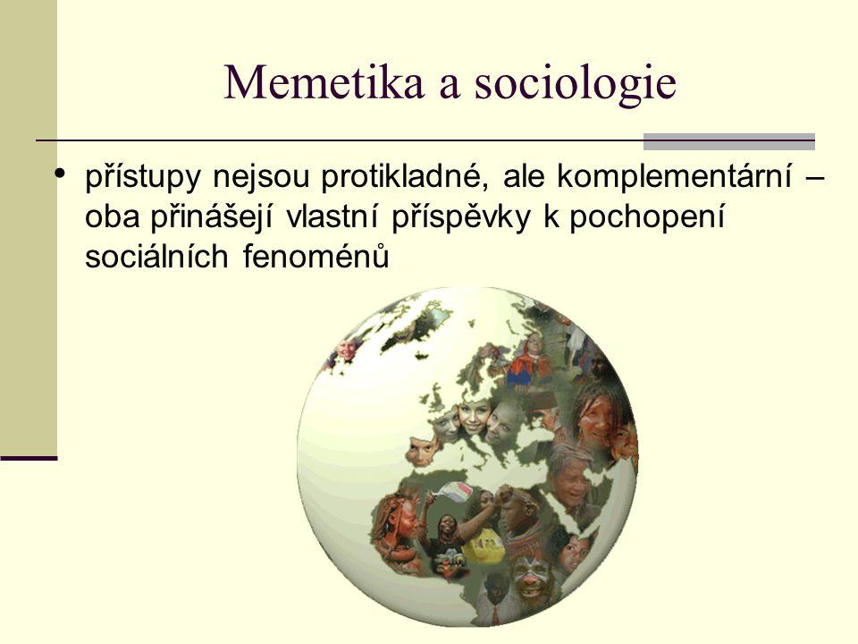 Memetika a sociologie přístupy nejsou protikladné, ale komplementární – oba přinášejí vlastní příspěvky k pochopení sociálních fenoménů.