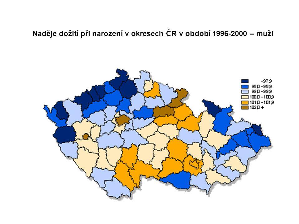 Naděje dožití při narození v okresech ČR v období 1996-2000 – muži