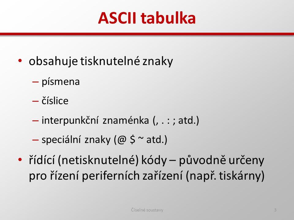 ASCII tabulka obsahuje tisknutelné znaky