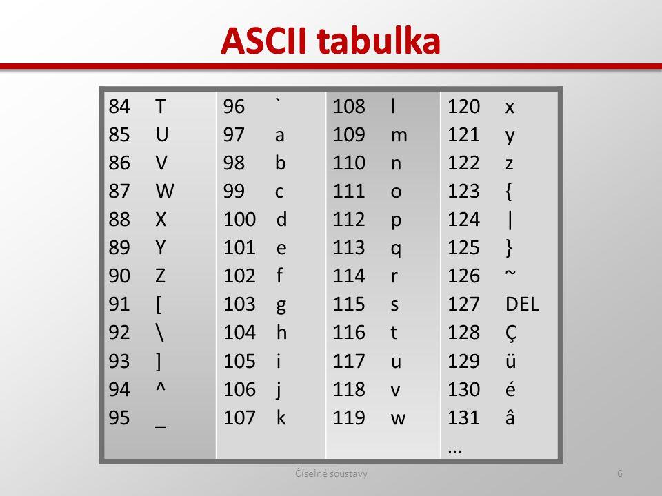 ASCII tabulka ASCII tabulka