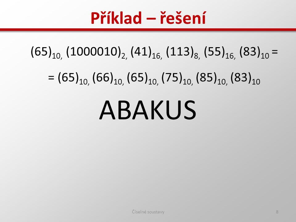 ABAKUS Příklad – řešení