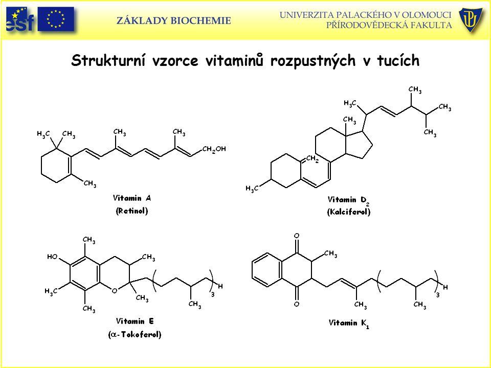 Strukturní vzorce vitaminů rozpustných v tucích