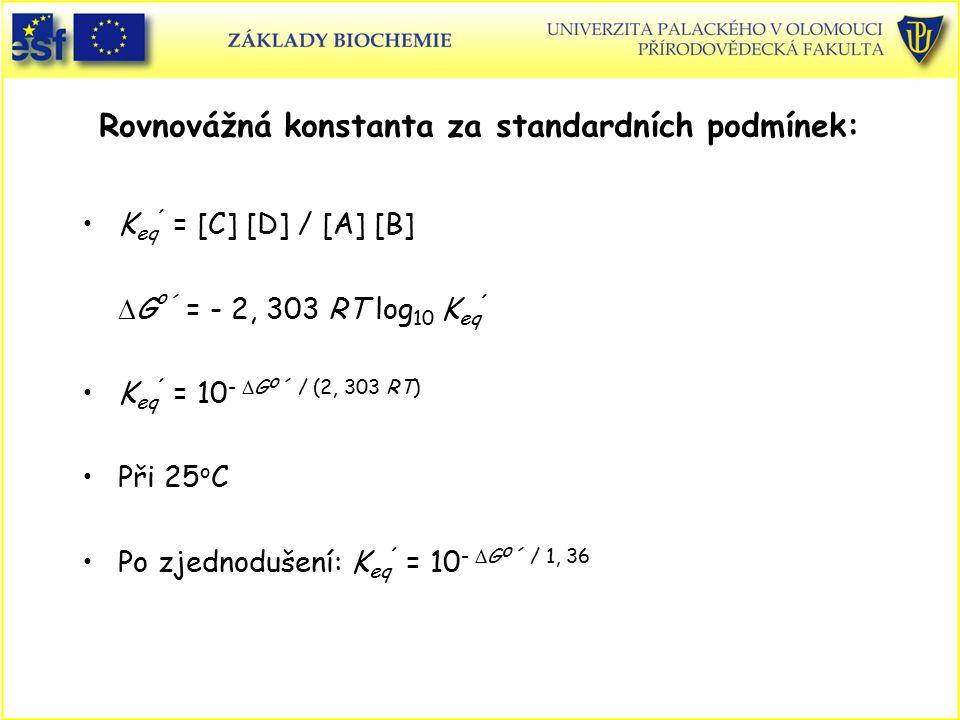 Rovnovážná konstanta za standardních podmínek: