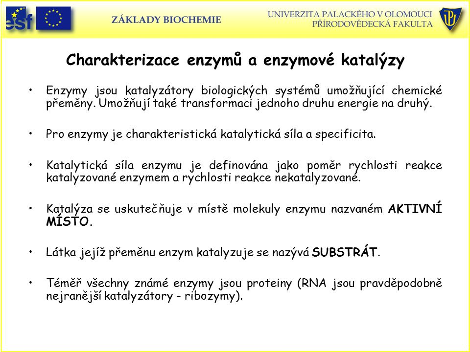 Charakterizace enzymů a enzymové katalýzy