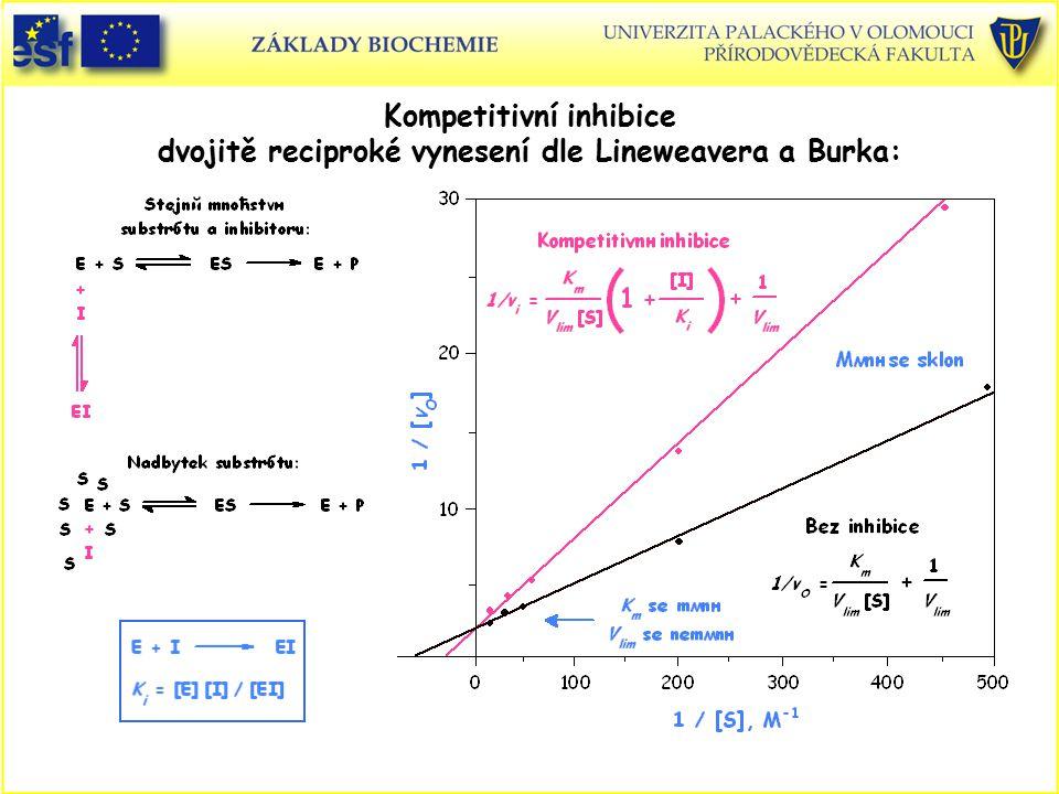 Kompetitivní inhibice dvojitě reciproké vynesení dle Lineweavera a Burka: