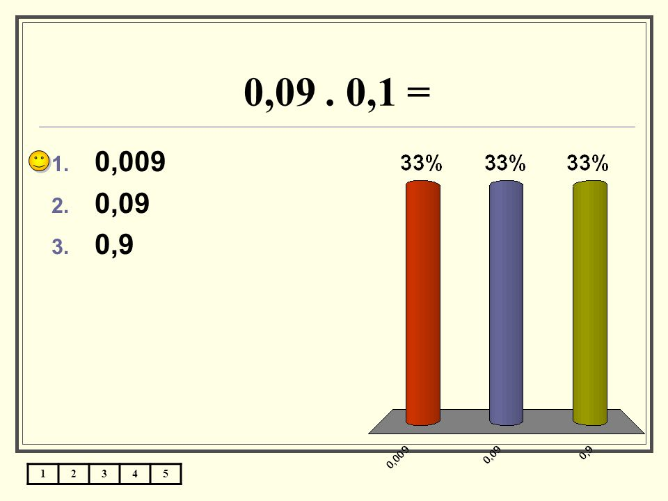 0,09 . 0,1 = 0,009 0,09 0,9 1 2 3 4 5