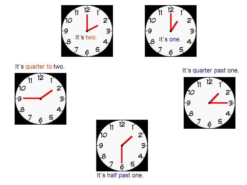 It´s two. It´s one. It´s quarter to two. It´s quarter past one. It´s half past one.
