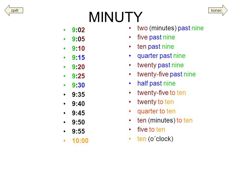 MINUTY two (minutes) past nine 9:02 five past nine 9:05 ten past nine