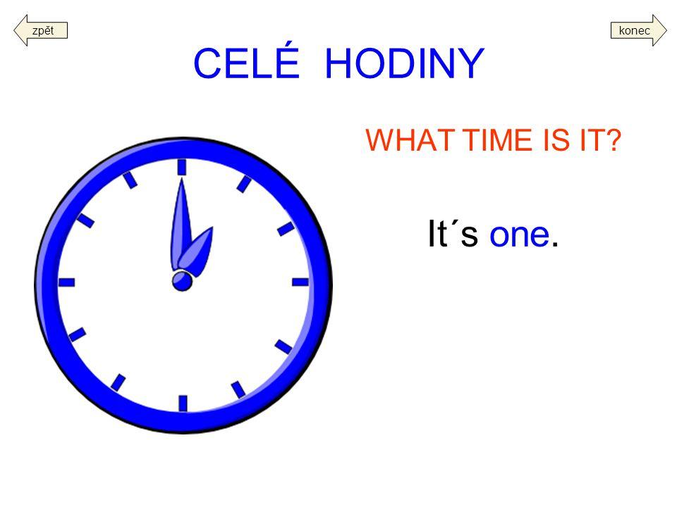 zpět konec CELÉ HODINY WHAT TIME IS IT It´s one.