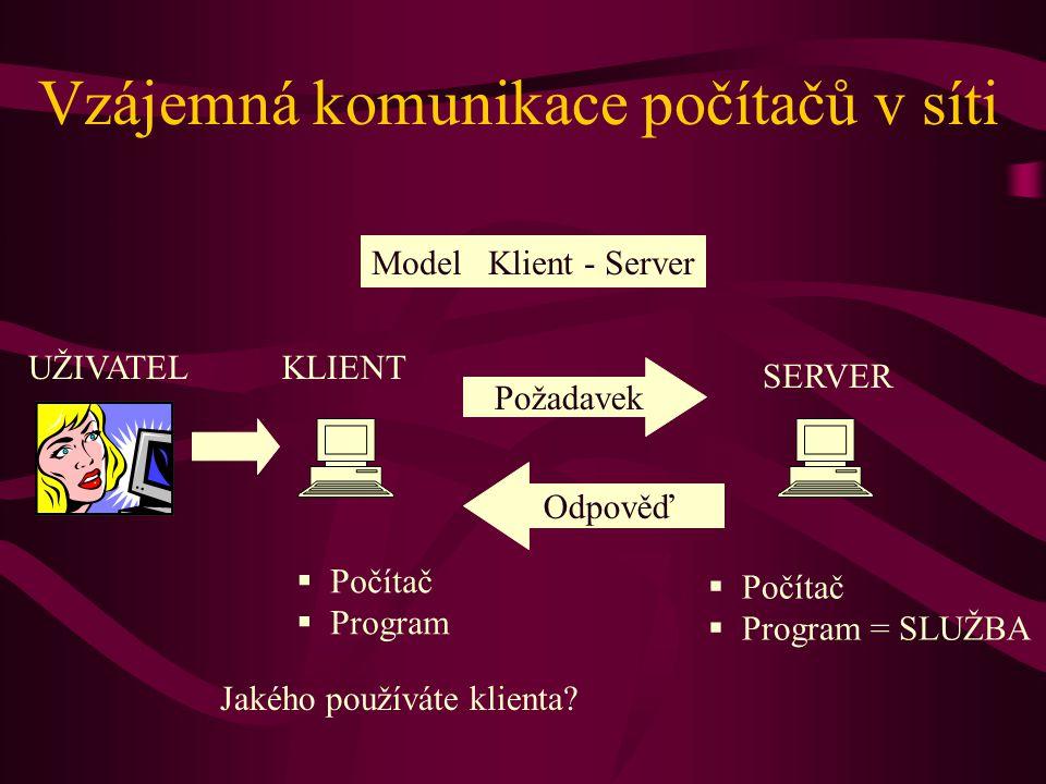 Vzájemná komunikace počítačů v síti