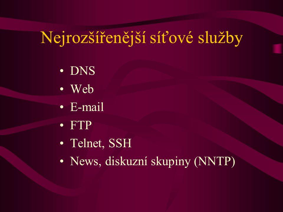 Nejrozšířenější síťové služby