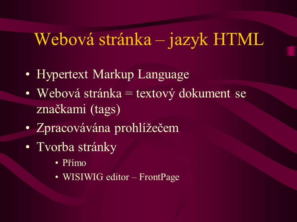 Webová stránka – jazyk HTML