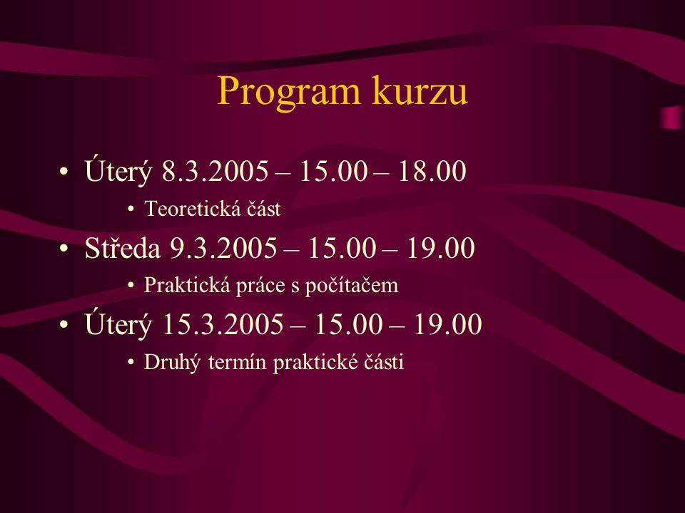 Program kurzu Úterý 8.3.2005 – 15.00 – 18.00. Teoretická část. Středa 9.3.2005 – 15.00 – 19.00. Praktická práce s počítačem.
