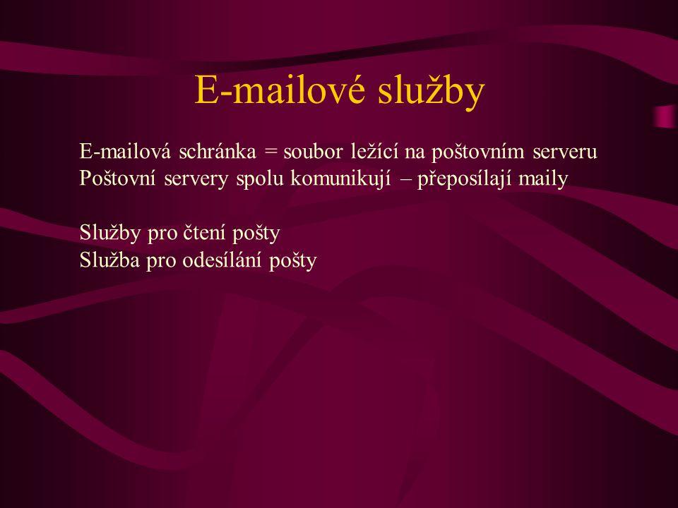 E-mailové služby E-mailová schránka = soubor ležící na poštovním serveru. Poštovní servery spolu komunikují – přeposílají maily.