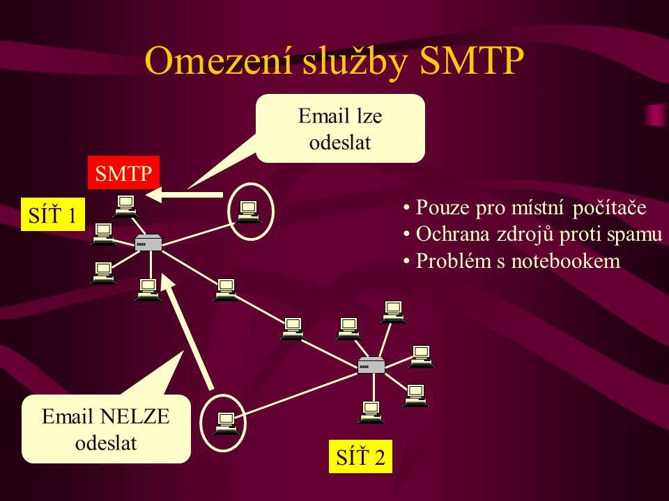 Omezení služby SMTP Email lze odeslat SMTP Pouze pro místní počítače