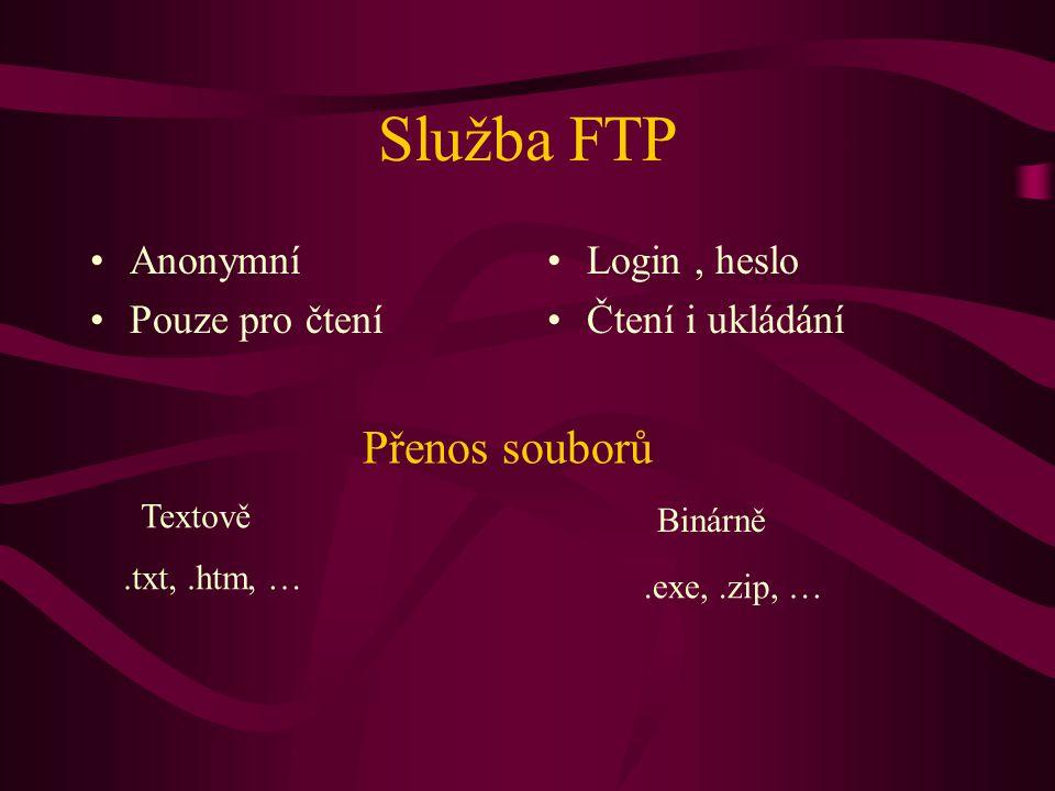 Služba FTP Přenos souborů Anonymní Pouze pro čtení Login , heslo