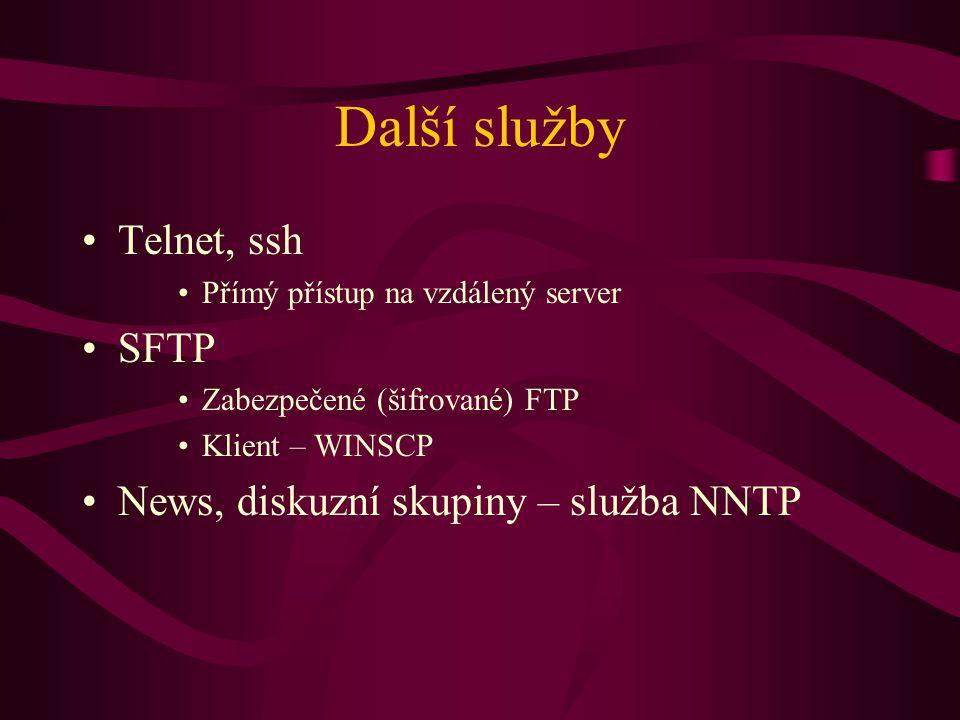 Další služby Telnet, ssh SFTP News, diskuzní skupiny – služba NNTP