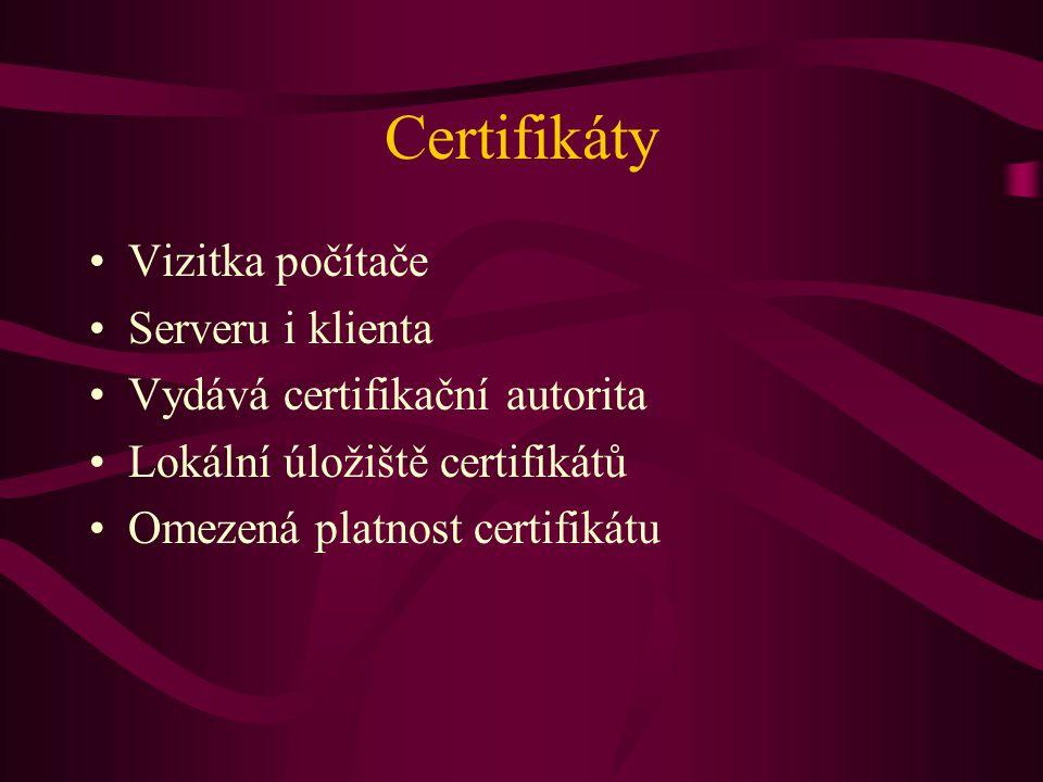 Certifikáty Vizitka počítače Serveru i klienta