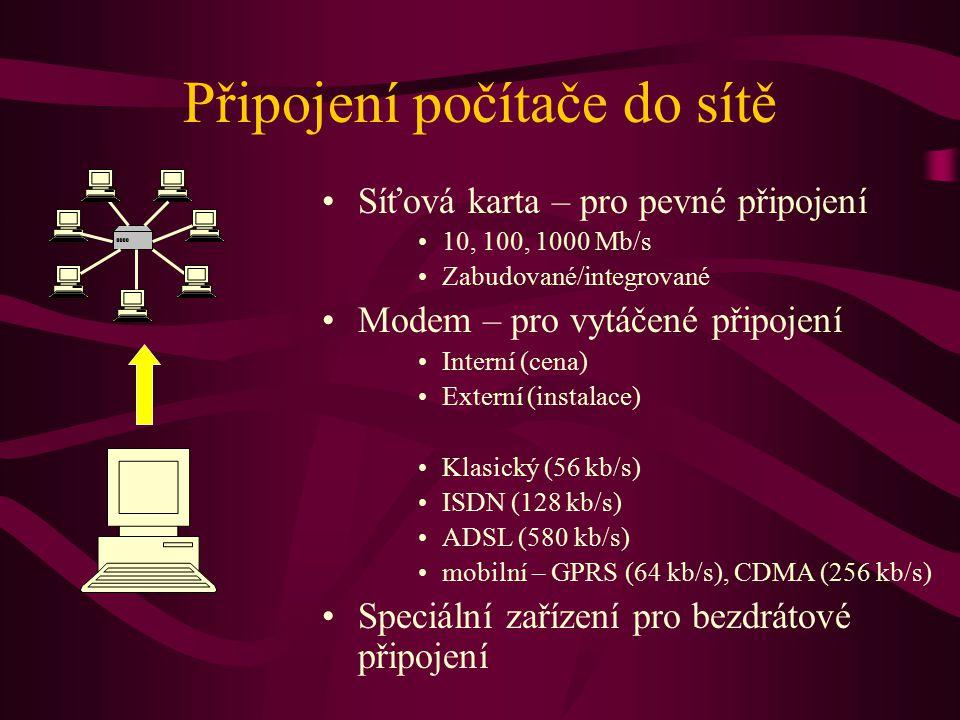 Připojení počítače do sítě