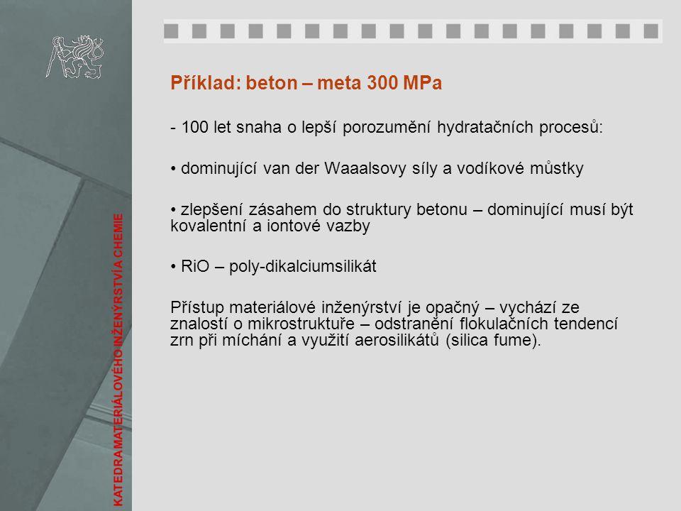 Příklad: beton – meta 300 MPa