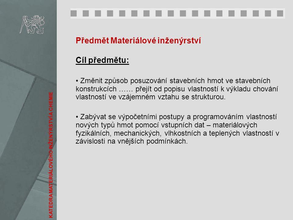 Předmět Materiálové inženýrství Cíl předmětu: