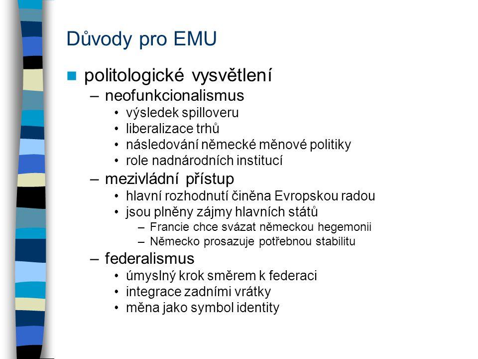 Důvody pro EMU politologické vysvětlení neofunkcionalismus