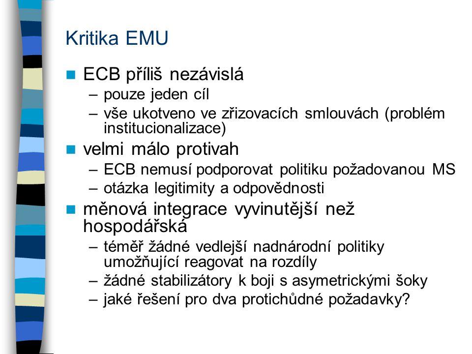 Kritika EMU ECB příliš nezávislá velmi málo protivah