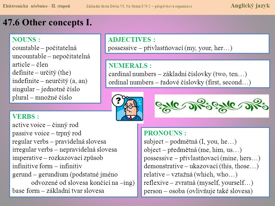47.6 Other concepts I. NOUNS : countable – počitatelná