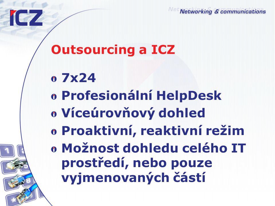 Outsourcing a ICZ 7x24. Profesionální HelpDesk. Víceúrovňový dohled. Proaktivní, reaktivní režim.