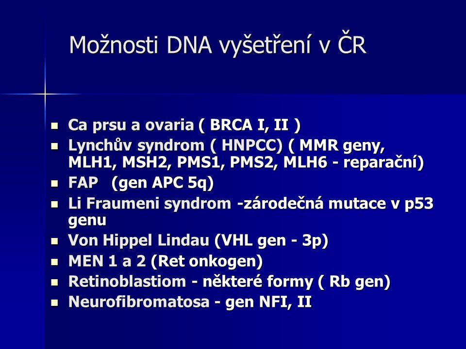 Možnosti DNA vyšetření v ČR